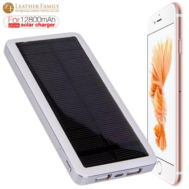 12800 mah cargador solar banco de la energía externa de carga delgado dual usb para iphone 6 s 7 plus teléfono inteligente al aire libre de emergencia portátil