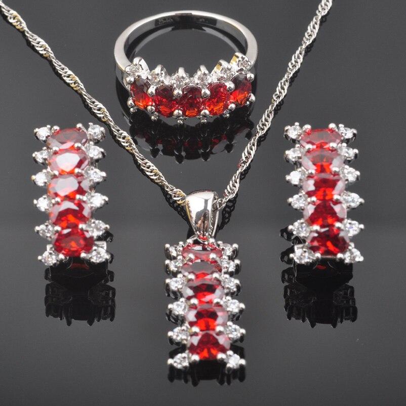 Fahoyo Wanderful Roten Zirkonia Frauen 925 Sterling Silber Schmuck Sets Ohrringe/anhänger/halskette/ringe Qz0559 Brautschmuck Sets Schmuck & Zubehör
