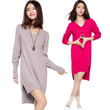 Women Autumn Winter Warm Wool Knitted Sweater Dress Long Lantern Sleeve Split Side Knitted Dress V Neck Irregular Sweater Dress