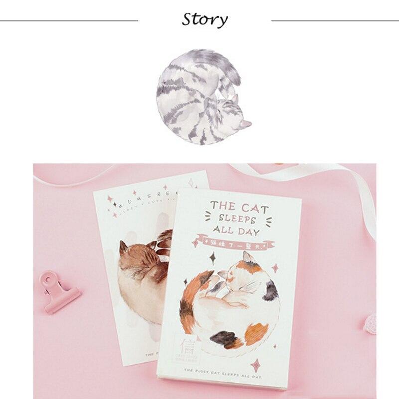 30pcs/lot Cartoon Kawaii Fat Cat Postcard 'The Cat Sleep All Day' MINI Postcards Wedding Greeting Party Gift Kids School Office