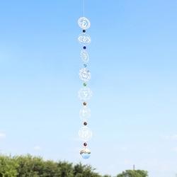 H&D 7 Chakras Suncatcher Rainbow Maker Crystal Sun Catcher Sacred Geometry Hanging Decoration Yoga Spiritual Room Altar