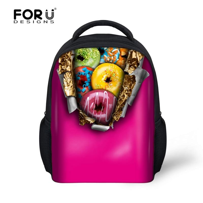 2017 New 3D donuts printing backpacks for kids boys girls kindergarten baby candy color pink children