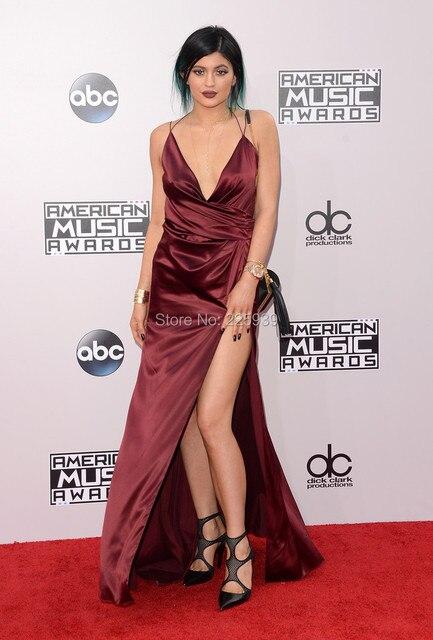 Sexy Kylie Jenner Roter Teppich Kleider Tiefem V ausschnitt ...