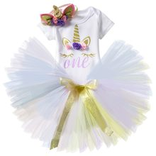 First Birthday Unicorn Baby Girl Clothes Sets Newborn Toddler Girl Christening Party Costume For Kids Romper Skirt Headband Sets(China)