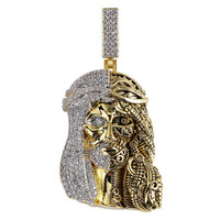 Hip Hop Jewelry Iced Out Religious Ghost Jesus Head Pendant Necklaces For Men Cubic Zirconia Fashion Jewelry Gifts
