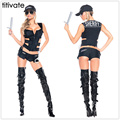 TITIVATE Halloween Costume Cosplay Police Cop Policewomen Sheriff Uniform Sexy For Women Costume Prom Outfit Top+Pants+Hat