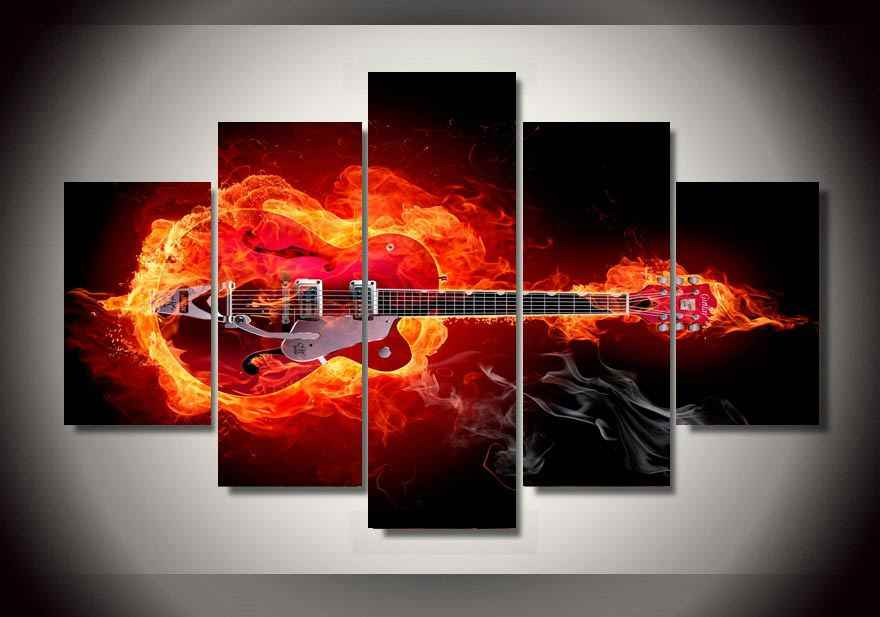 High quality HD Printed Unframed 5 panels Skull Guitar Painting wall art Bar Ballroom decor print poster picture canvas