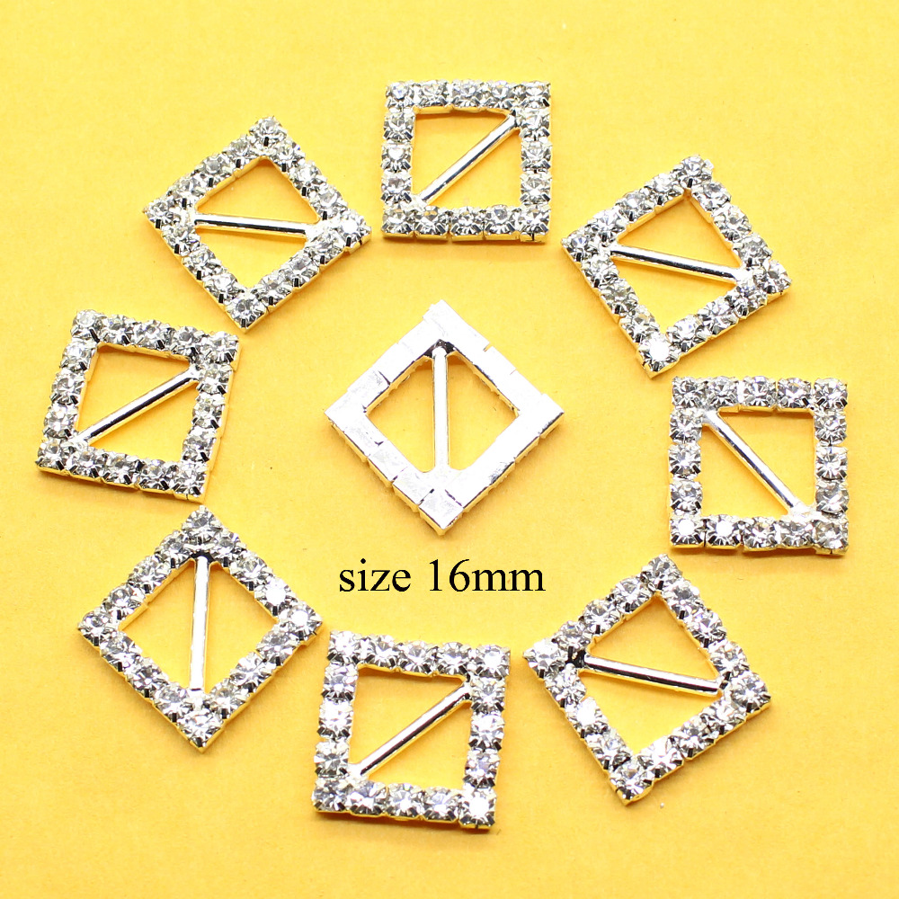 10pcs Heart Ons Crystal Rhinestone Buckle Invitation Ribbon Slider For Wedding Gold Color Free Shipping