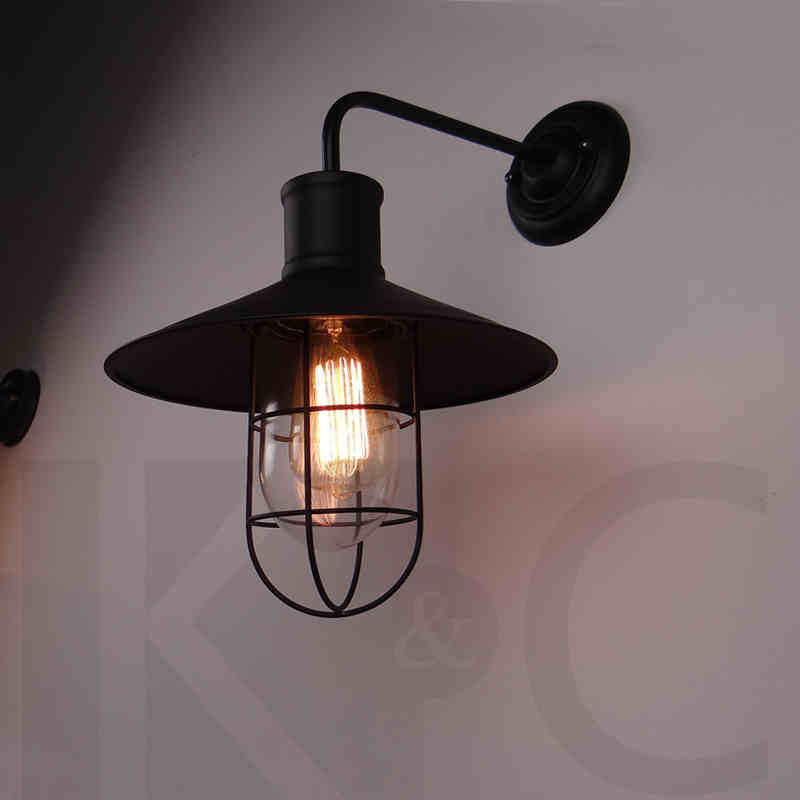 American vintage iron wall lamp loft outdoor wall lights bedside with e27 edsion bulb lamp micro usb 5v 2a us plug power adpater ac 100 240v