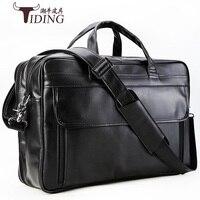 Men Briefcase Bags Fashion Multi Function Genuine Leather black brand 17 laptoTravel Bag Men's Leather Duffle Bag Large Tote
