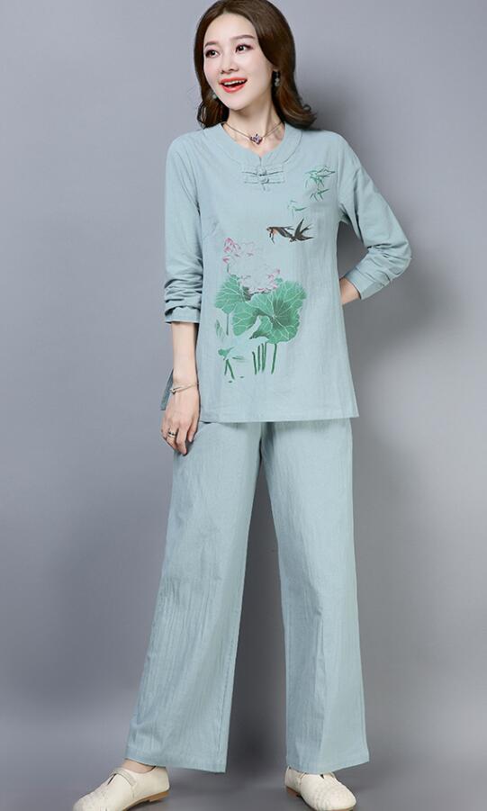 Automne 2018 nouveau style ethnique coton et lin lâche impression disque bouton à manches longues pantalons à jambes larges costume zen