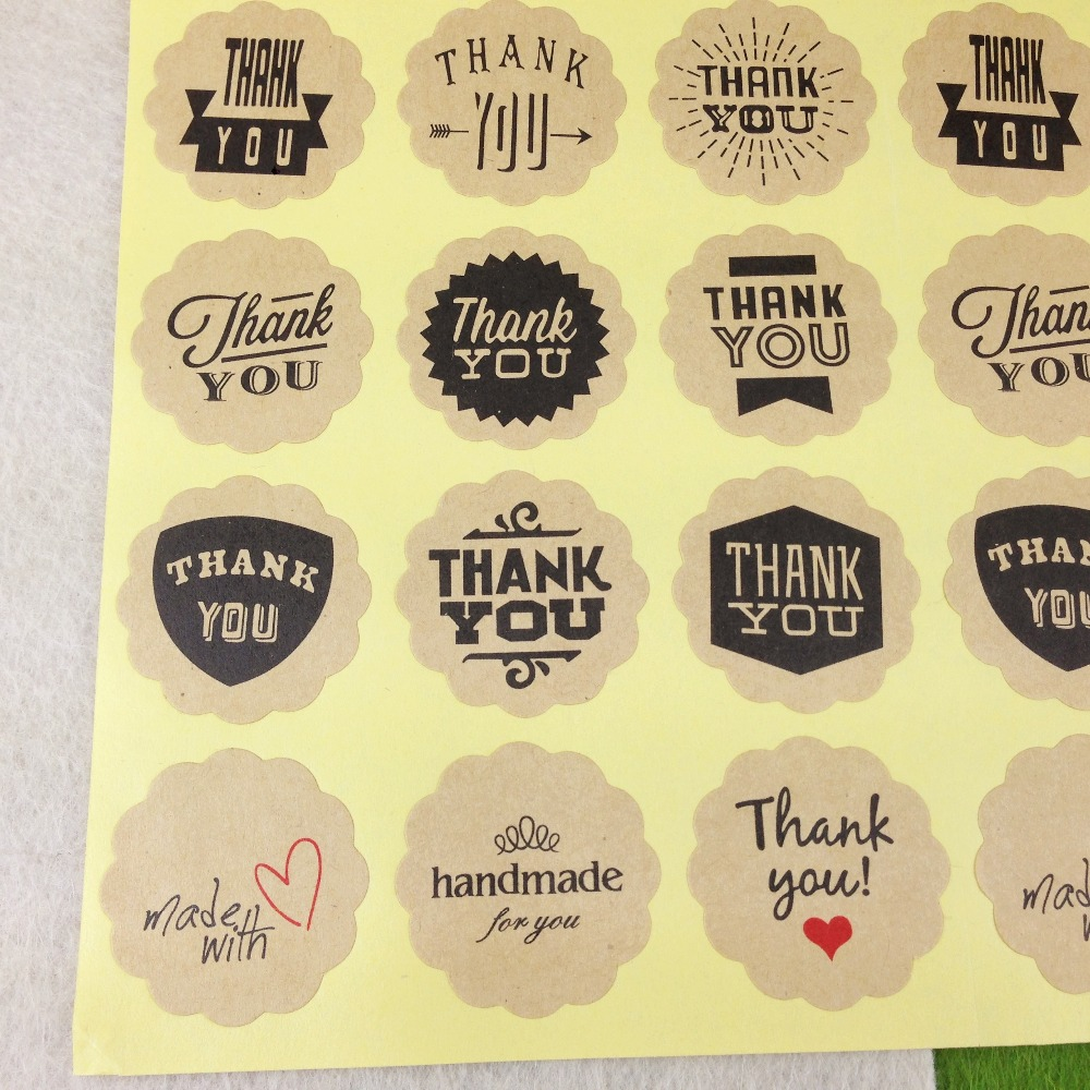 100pcs 3cm Kraft Sticker Labels Thank You Label Stickers Paper Round Self-adhesive Labels Sealing For Tips/box/jewelry/bag/card