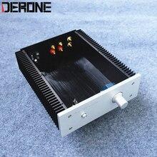 Eindversterker case shell amp chassis aluminium met konb RCA binding post voeten audio diy doos