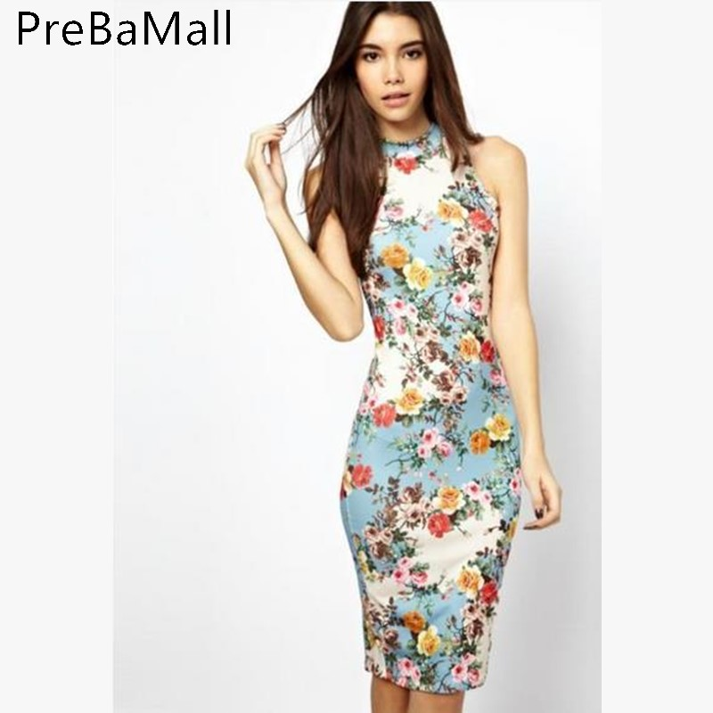 Summer Dress women Stand Neck Vintage Print Bodycon Elegant Sleeveless Party Dresses Women Clothing C200