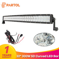 Partol 300W 32 5D Curved LED Light Bar for ATV SUV Auto LED Bar 12V 4X4 OffRoad Driving Work Light Bar Combo Beam