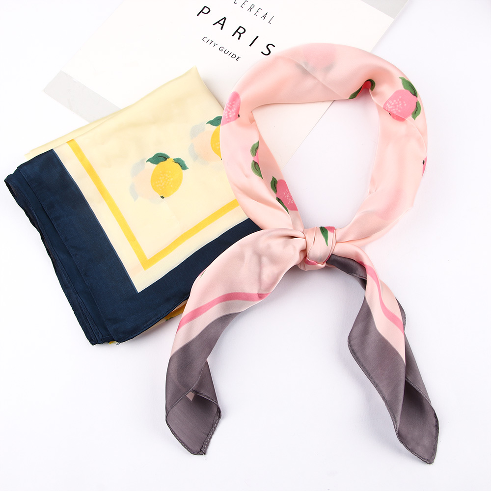 Fashion Neck <font><b>Scarf</b></font> <font><b>70cm</b></font> Lemon Print Design Small Square Collar <font><b>Scarf</b></font> Women's Imitation <font><b>Silk</b></font> <font><b>Scarves</b></font> Headbands image