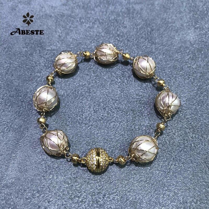 ANI 14 K rouleau or fait à la main femmes Bracelet eau douce blanc perle rouleau or Design spécial bijoux fins personnalisé pour dame