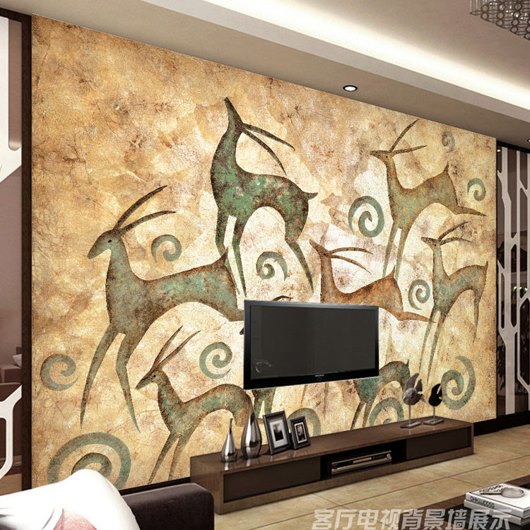 Buy abstract painting photo wallpaper elk for Art deco mural wall
