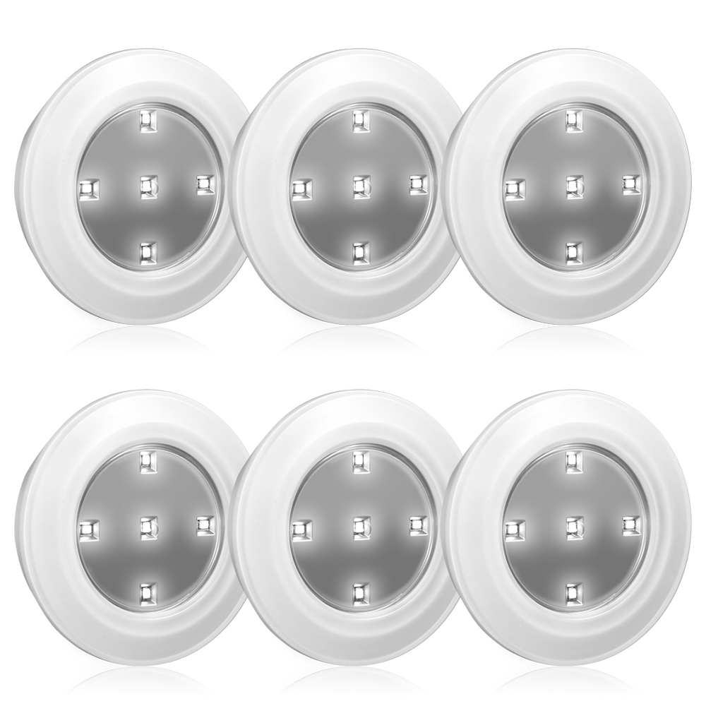 6PCS CL050 LED Intelligent Cabinet Light 0.5W Remote Control Bedroom Led Under Cabinet Light Kitchen Closet Battery Light