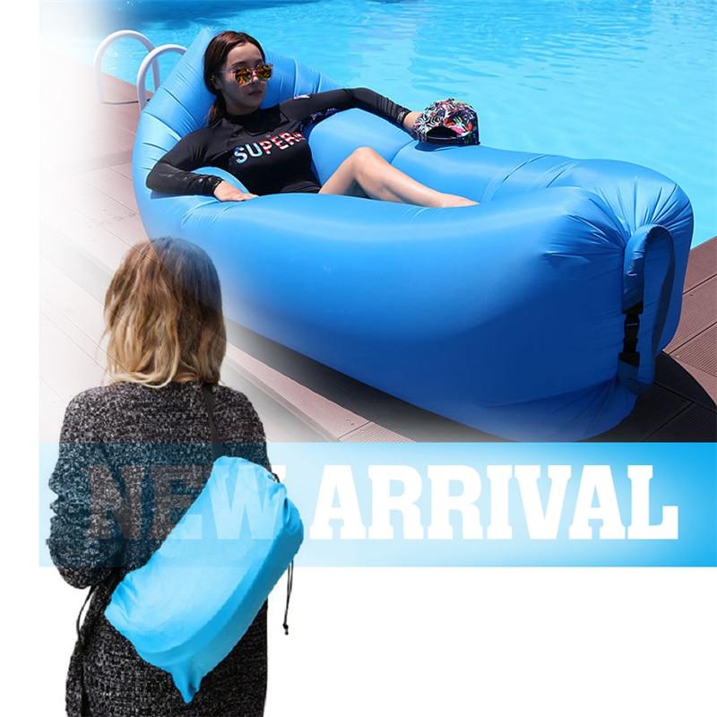 ФОТО Fast Inflatable Laybag Lamzac Hangout Air Sofas Camping Sleeping Bag Beach Sofa Lounger Bed Banana Lazy bags With Side Pocket