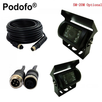 Podofo Car Parking Camera Nightvision Waterproof Rear View Camera + 5M 10M 15M 20M Aviation Connector Plug Cable For Bus Truck