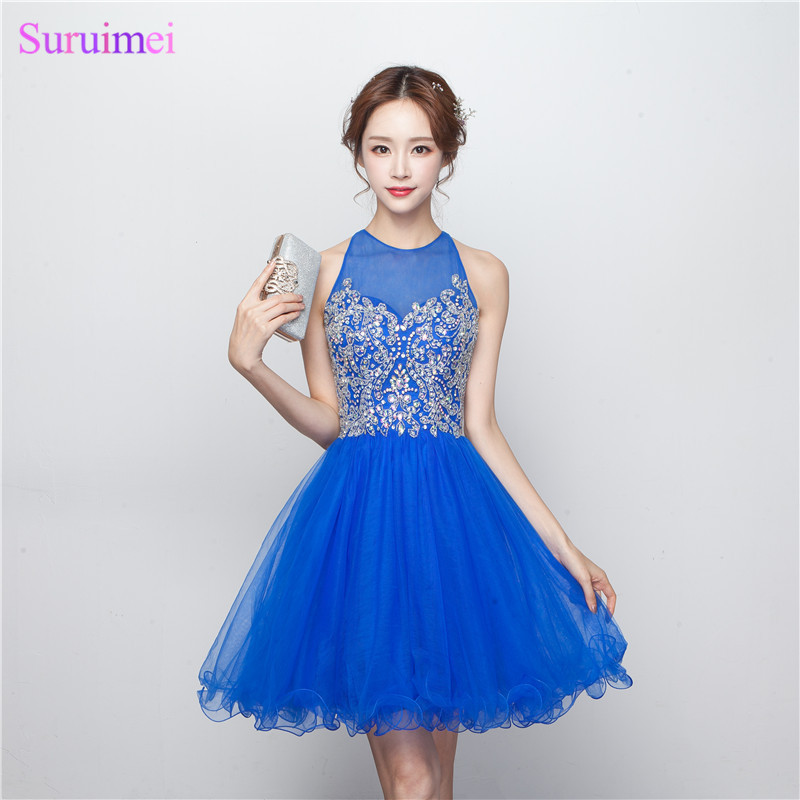 Short Beaded Homecoming Dresses Knee Length High Quality Tulle Backless Key Hole Royal Blue Girls Party Gown