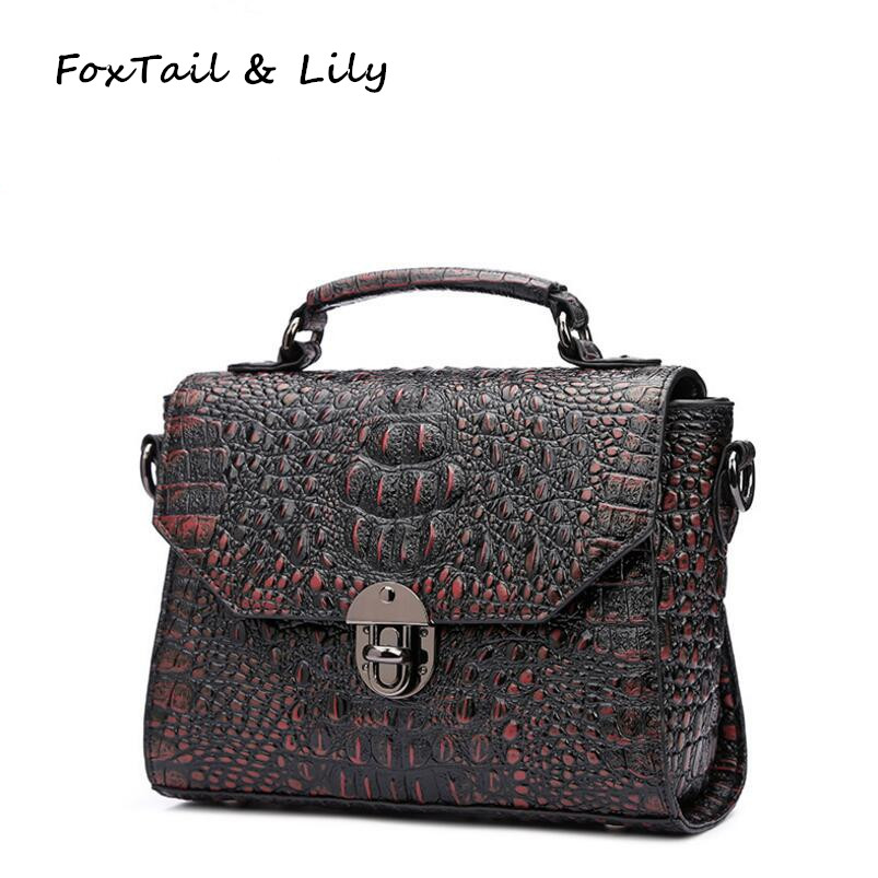 FoxTail & Lily Crocodile Pattern Luxury Handbags Women Bags Designer High Quality Composite Cowhide Small Shoulder Crossbody Bag