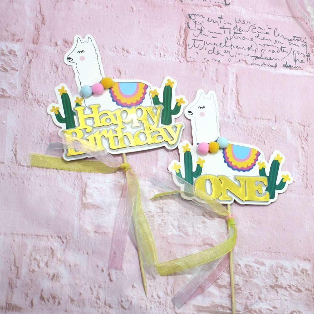 1 piezas de feliz cumpleaños de la torta Topper pastel banderas bebé 1st fiesta de cumpleaños decoraciones de la torta pastel de boda fiesta cupcake topper