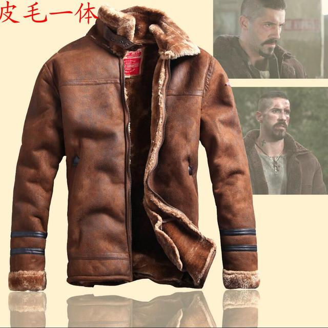 M-3XL NEW autumn and winter leather clothing Men plus velvet thickening vintage retro fur one piece leather jacket casual coats