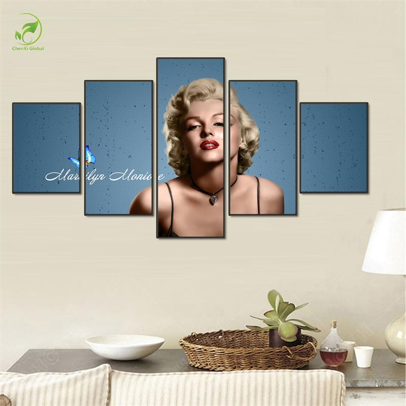 5pcs Marilyn Monroe Frame Wall Art Paint Melamine Sponge Board Canvas Oil Painting Sexy Actress Body Canvas Prints Art Pictures