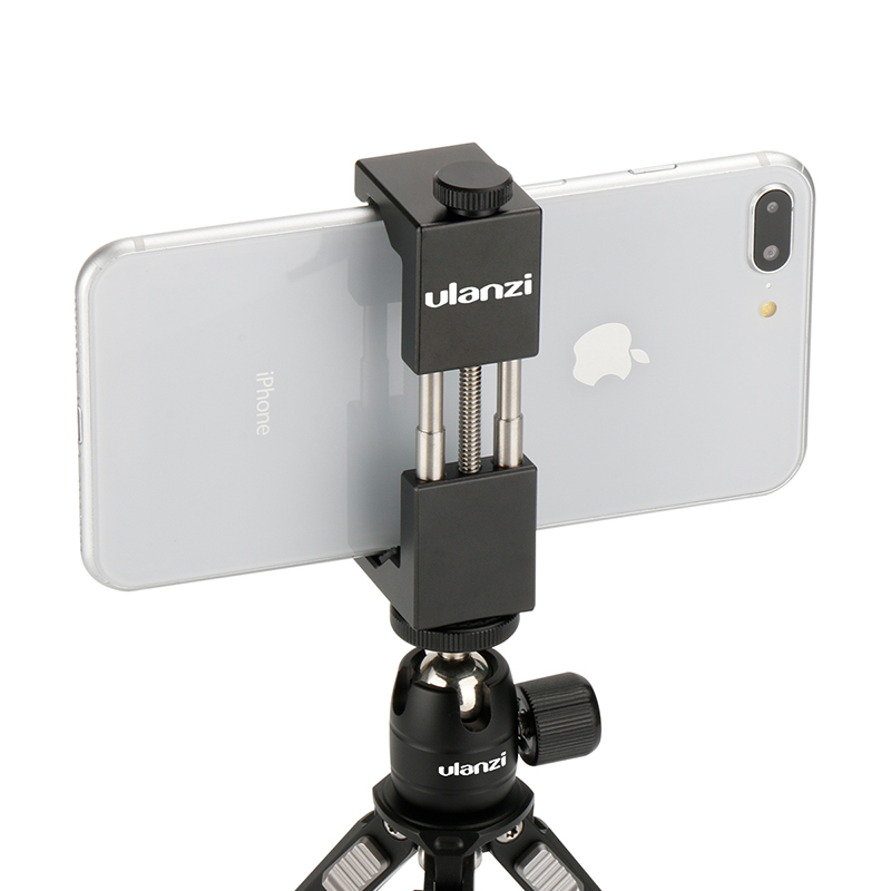 Ulanzi IRON MAN Aluminium Universal Telefon Mount Holder Stand Clip Tripod Mount Adapter untuk iPhone 7/7 Plus Android Smartphone