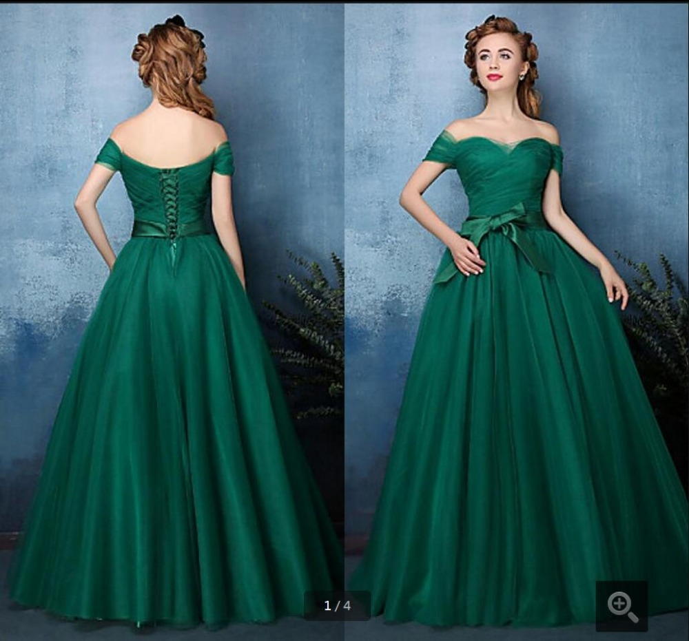 Ball Gown Dark Green Off Shoulder Sweetheart neck prom dress floor ...