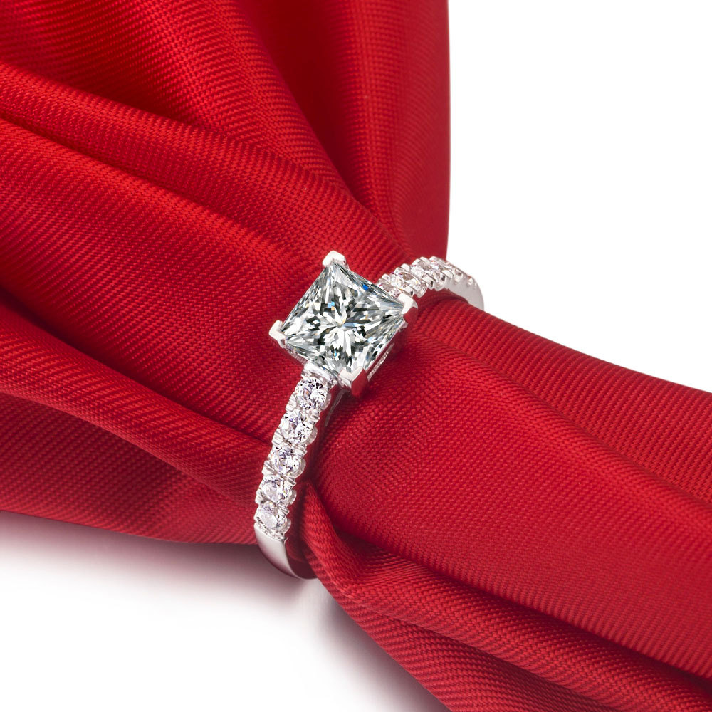 1 Ct Princess Cut Synthetic Diamond Rings For Women Solitaire