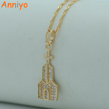 Anniyo High Quality Church Necklace for Women Light Rose Gold Cross Cathedral Necklace Zirconia Jewelry #010004(China)