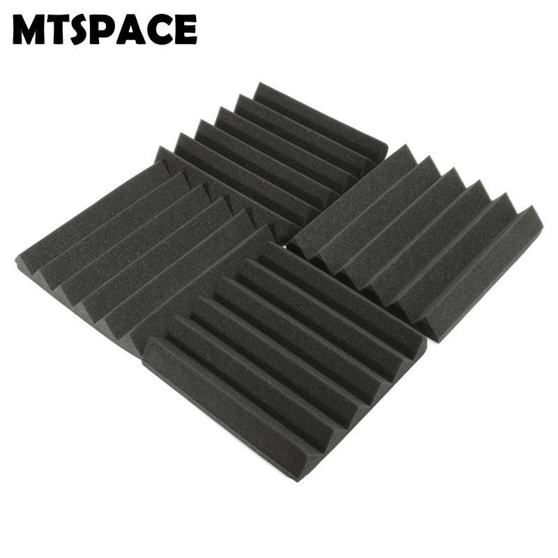 MTSPACE 4 pcs/Set 305x305x45mm Soundproofing Foam Acoustic Foam Sound Treatment Studio Room Absorption Wedge Tiles Polyurethane