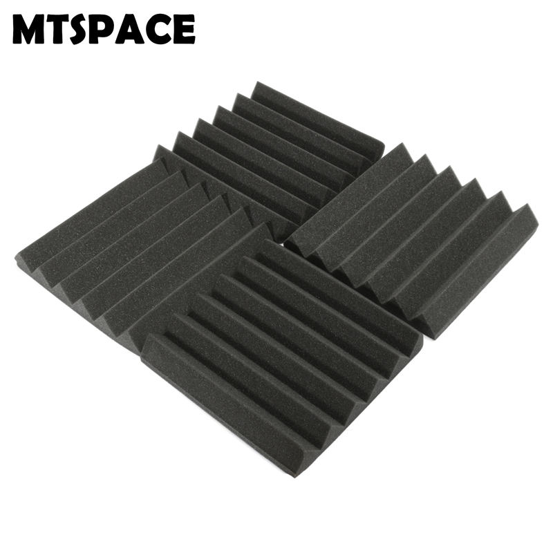 MTSPACE 4 pcs/Set 305x305x45mm Soundproofing Foam Acoustic Foam Sound Treatment Studio Room Absorption Wedge Tiles Polyurethane