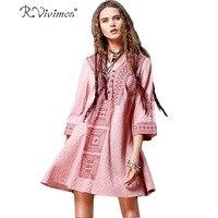 R Vivimos Women Autumn Casual 3 4 Sleeve Buttons V Neck Short Dresses