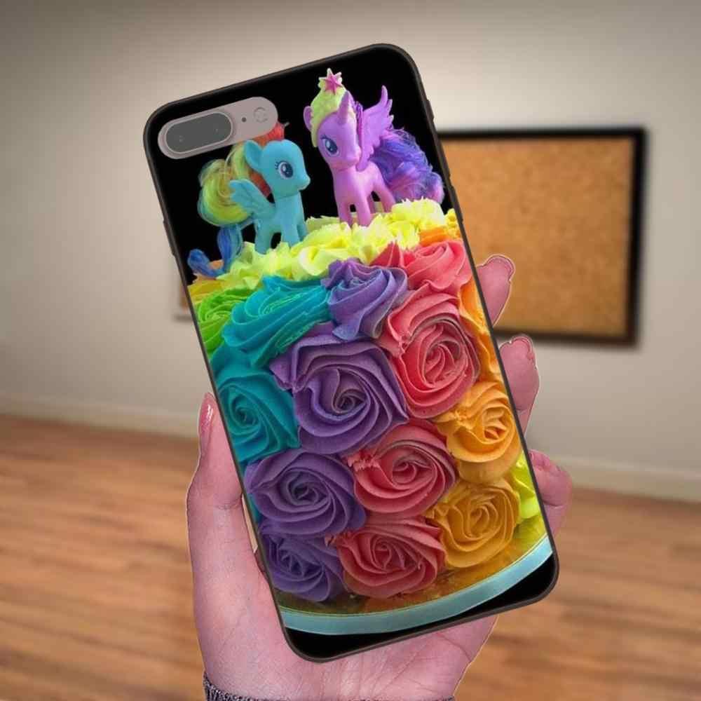 Резиновая черный корпус чехол для телефона My Little Pony цветов радуги для Samsung Galaxy A3 A5 A6 A6s A7 A8 A9 Star Plus 2016 2017 2018