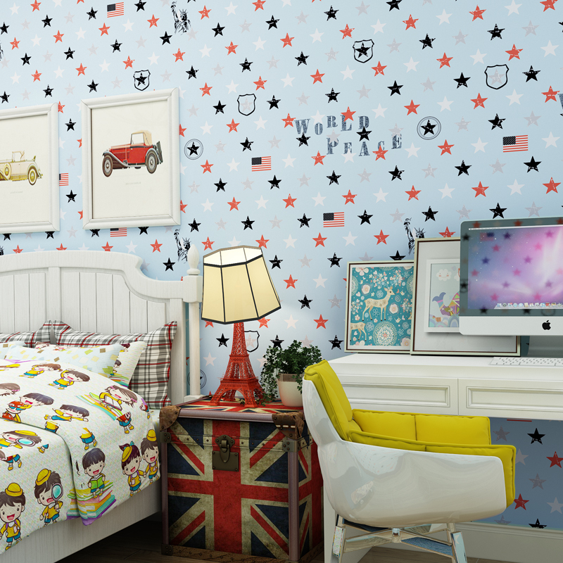 British Style Non-woven Pointed Star Wallpaper Roll for Childrens Bedroom Walls Non Woven Wallpapers for Boy Girls Kids RoomBritish Style Non-woven Pointed Star Wallpaper Roll for Childrens Bedroom Walls Non Woven Wallpapers for Boy Girls Kids Room