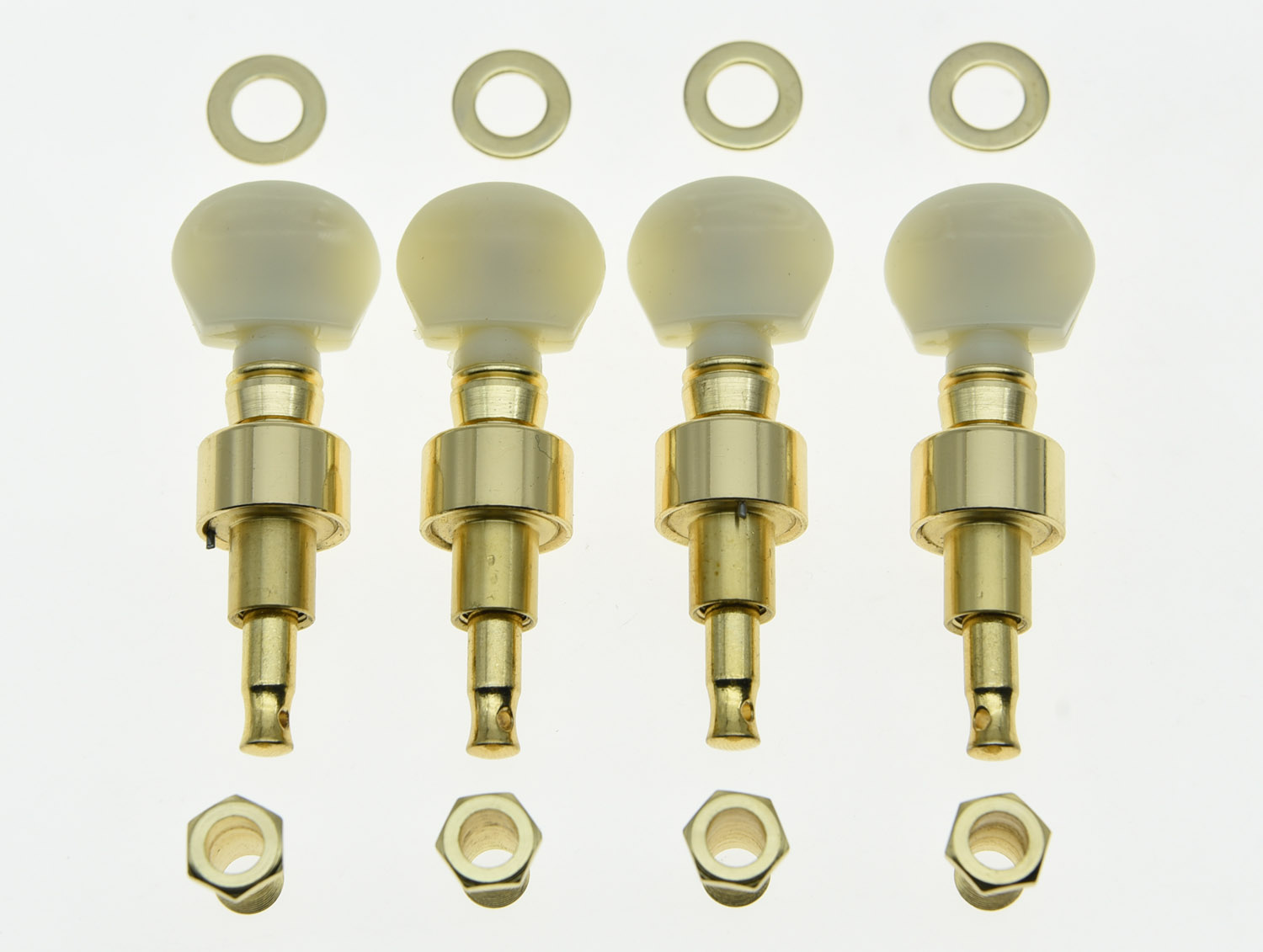 KAISH Set of 4 Gold w/ Ivory Buttons Banjo Geared Tuners Tuning Pegs Machine Heads kaish set of 4 left handed sealed bass tuners tuning keys pegs 4 string bass machine heads 2 colors