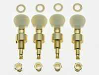 Set of 4 Gold w/ Ivory Buttons Banjo Geared Tuners Tuning Pegs Machine Heads