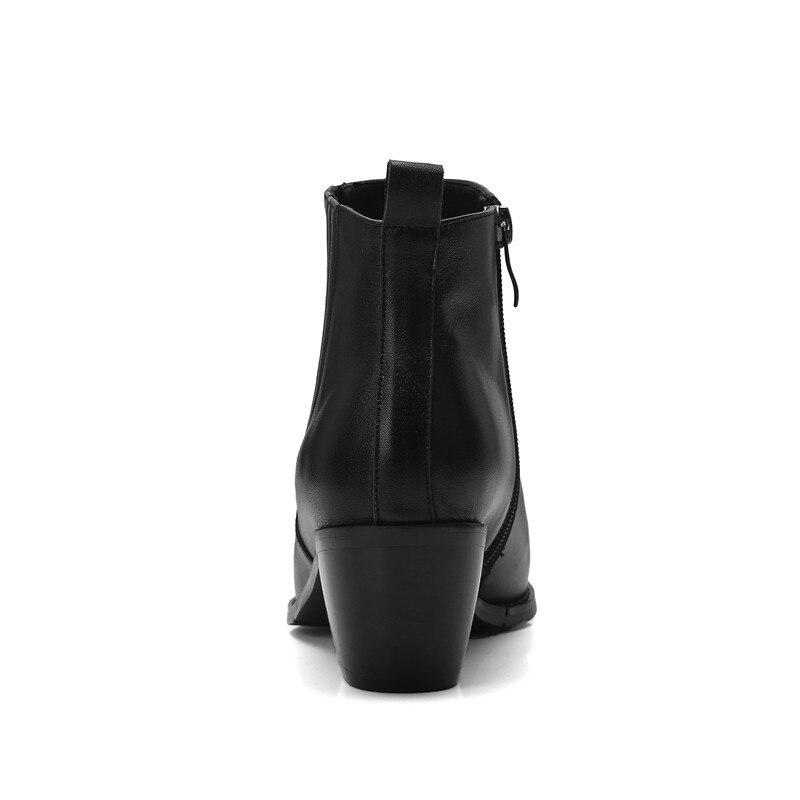 black Cr1027 34 Med Taille Slip Femmes On Enmayer Causal 40 Fur Mode De Épais Pour D'hiver Femme Talons Bout Rond Bottes Bottines Black H44xUwZ1