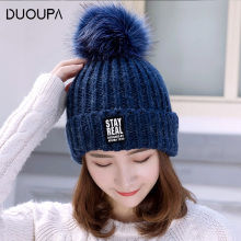 DUOUPA Winter women real fur pom pom hats wool knitted thick warm lined beanies hat lady fashion bobble ski caps