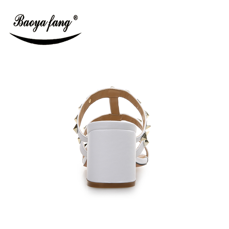 D'été Chaussures Femmes Noir 8 Haute Femme Rivet Épais Nouvelle Baoyafang Sandales Cm De blanc Blanc Talon noir Mode xBRvawq4C