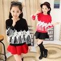 Девушки не толстый бархат корейской версии зимние модели полный футболки и девочка красные одежды 9 и 10 и 11 лет девушка одежда