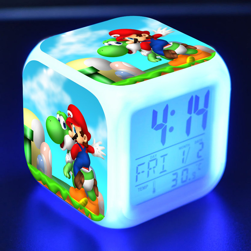 Anime Figurines Super Mario Bros Doll Clock Alarm LED Colorful Light Thermometer Mario Yoshi Figures Toys For Children