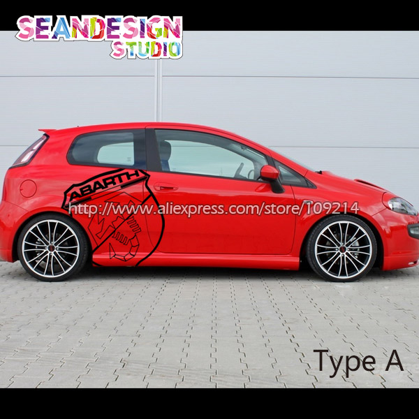 For Fiat Abarth Punto 500 Panda Bravo Decal Sticker Pvcblackwhitered