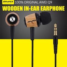 AWEI ES-Q9 Super Bass Wooden Earphones In-ear Headset Fone De Ouvido 3.5mm Jack for Samsung S6 Edge Xiaomi HTC