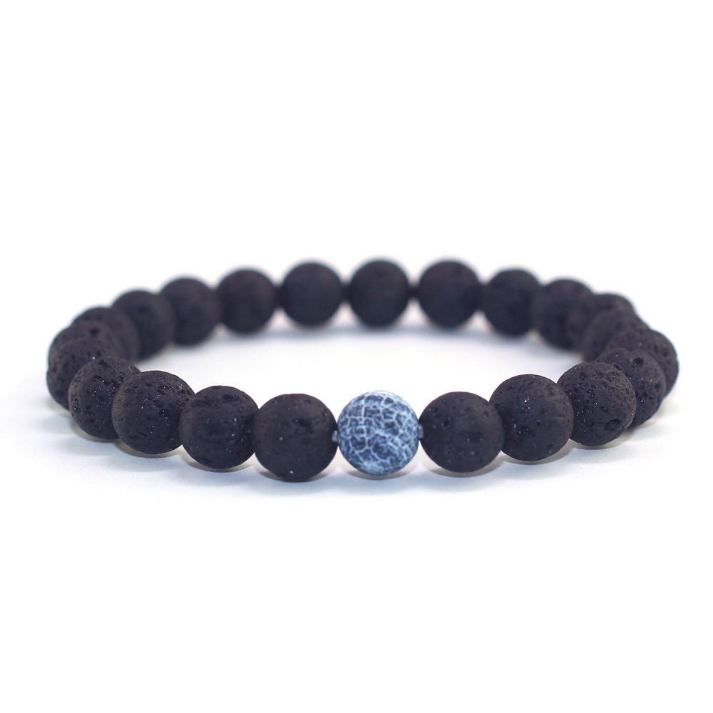 New Products Couple Jewelry 8mm Volcanic Stone Weather Stone Scrub Stone Set Bracelet For Women Men Jewelry Gift in Strand Bracelets from Jewelry Accessories