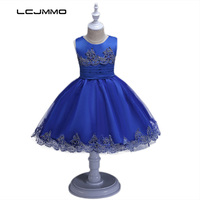 LCJMMO 2017 Girls Evening Dress Children Embroidery Sleeveless Party Wedding Dresses Vintage Formal Clothes For Girl